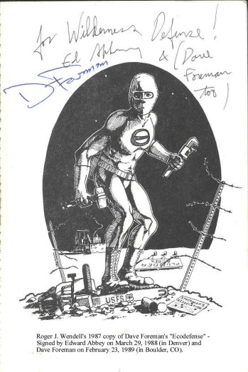 Ed Abbey and Dave Foreman both signed EcoDefense for me - 1980s