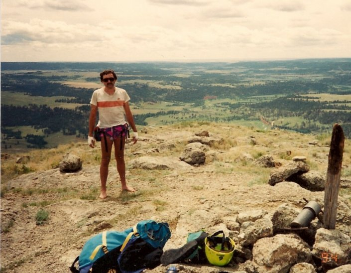Roger J. Wendell on top Devils Tower without shoes - 07-16-1994