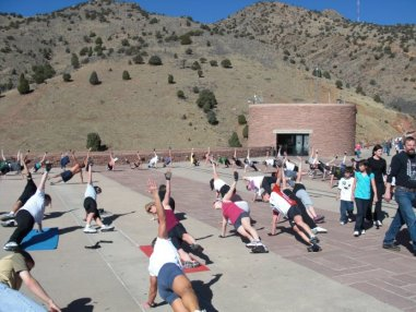 Group Exercise at Red Rocks Amphitheatre near Morrison, Colorado - 03-22-2009