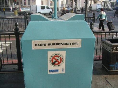 Knife Surrender Bin, London, by Roger J. Wendell - 10-16-2006