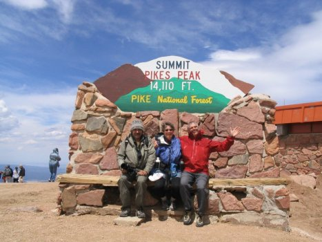 Pikes Peak Summit Sign with Roger J. Wendell and Tom and Linda Jagger - 06-10-2006