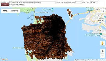 Map of Human Excrement in San Francisco - 2011 to 2019